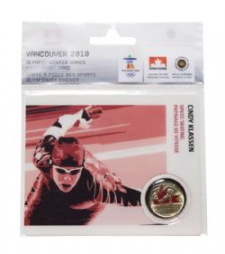 VANCOUVER 2010 -  2010 VANCOUVER OLYMPIC GAMES COIN CARD - CINDY KLASSEN, SPEED SKATING 2009 -  2007-2010 CANADIAN COINS 15