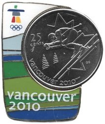 VANCOUVER 2010 -  ALPINE SKIING COIN AND MAGNETIC PIN -  2007 CANADIAN COINS