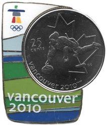 VANCOUVER 2010 -  CURLING COIN AND MAGNETIC PIN -  2007 CANADIAN COINS