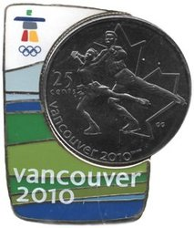 VANCOUVER 2010 -  FIGURE SKATING COIN AND MAGNETIC PIN -  2008 CANADIAN COINS