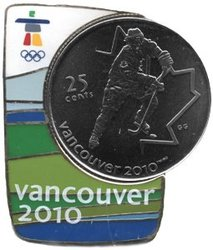VANCOUVER 2010 -  HOCKEY COIN AND MAGNETIC PIN -  2007 CANADIAN COINS