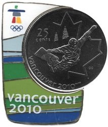 VANCOUVER 2010 -  SNOWBOARD COIN AND MAGNETIC PIN -  2008 CANADIAN COINS