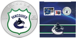 VANCOUVER CANUCKS -  CANUCKS VANCOUVER LOGO - STAMPS AND COIN SET -  2014 CANADIAN COINS