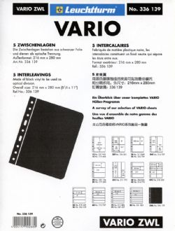VARIO -  BLACK INTERLEAVES FOR VARIO SHEETS (PACK OF 5)