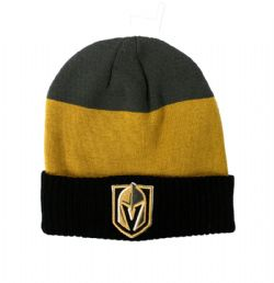 VEGAS GOLDEN KNIGHTS -  BEANIE WITH POMPOM - BLACK/GOLD/GREY