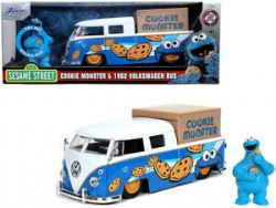 VOLKSWAGEN -  1962 PICK UP BUS WITH COOKIE MONSTER FIGURE WITH SOUND - BLUE AND WHITE -  SESAME STREET
