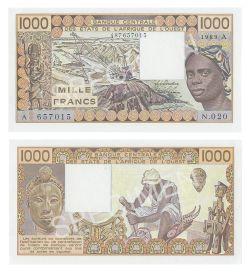 WEST AFRICAN STATES (IVORY COAST) -  1000 FRANCS 1989 (UNC)