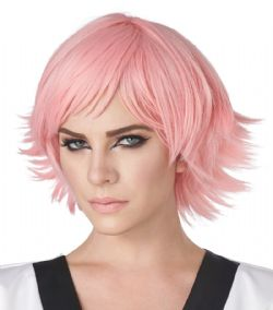 WIG -  SHORT HAIR - PINK (ADULT) -  FEATHERED COSPLAY