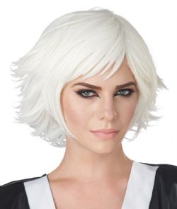 WIG -  SHORT HAIR - WHITE -  FEATHERED COSPLAY