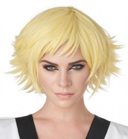 WIG -  SHORT HAIR - YELLOW -  FEATHERED COSPLAY