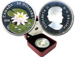 WILDFLOWERS -  WATER LILY WITH CRYSTAL DEW DROPS - AUTOGRAPHED BY THE ARTIST CLAUDIO D'ANGELO -  2010 CANADIAN COINS 01