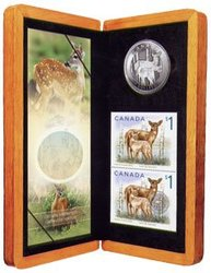 WILDLIFE IN STAMP AND COIN -  DEER AND FAWN -  2005 CANADIAN COINS 05