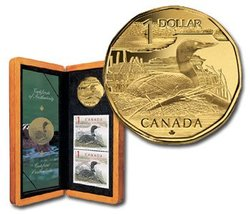 WILDLIFE IN STAMP AND COIN -  ELUSIVE LOON -  2004 CANADIAN COINS 01