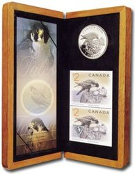 WILDLIFE IN STAMP AND COIN -  FALCON AND NESTLINGS -  2006 CANADIAN COINS 07