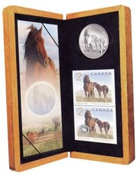 WILDLIFE IN STAMP AND COIN -  HORSE AND FOAL -  2006 CANADIAN COINS 08
