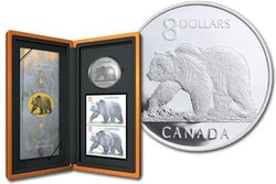 WILDLIFE IN STAMP AND COIN -  THE GREAT GRIZZLY -  2004 CANADIAN COINS 04