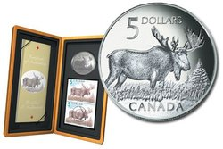 WILDLIFE IN STAMP AND COIN -  THE MAJESTIC MOOSE -  2004 CANADIAN COINS 03