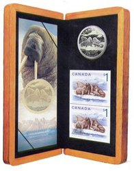 WILDLIFE IN STAMP AND COIN -  WALRUS AND CALF -  2005 CANADIAN COINS 06