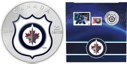 WINNIPEG JETS -  WINNIPEG JETS LOGO - STAMPS AND COIN SET -  2014 CANADIAN COINS