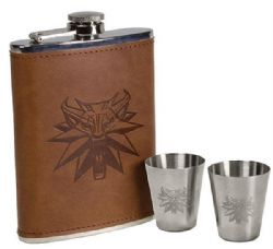 WITCHER, THE -  FLASK AND TWO STAINLESS STEEL SHOOTERS DELUXE SET