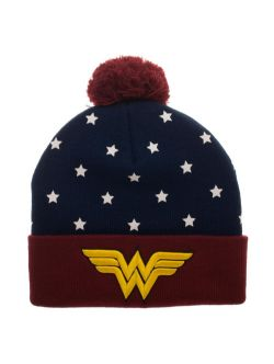 WONDER WOMAN -  BEANIE WITH POMPOM - RED/BLUE