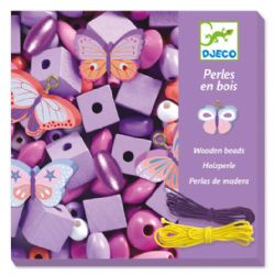 WOODEN BEADS -  BUTTERFLIES (MULTILINGUAL)
