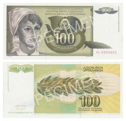 YUGOSLAVIA -  100 DINARS 1991 (UNC)