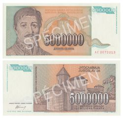 YUGOSLAVIA -  5 000 000 DINARS 1993 (UNC)