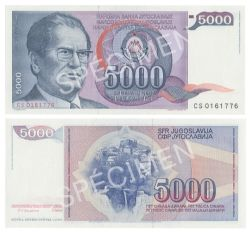 YUGOSLAVIA -  5000 DINARS 1985 (UNC)