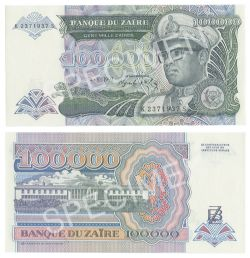ZAIRE -  100 000 ZAIRES 1992 (UNC)