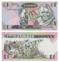 ZAMBIA -  1 KWACHA 1980-1988 (UNC)