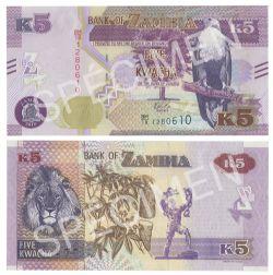 ZAMBIA -  5 KWACHA 2018 (UNC)