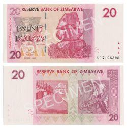 ZIMBABWE -  20 DOLLARS 2007 (UNC)