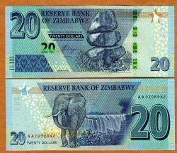 ZIMBABWE -  20 DOLLARS 2020 (UNC)