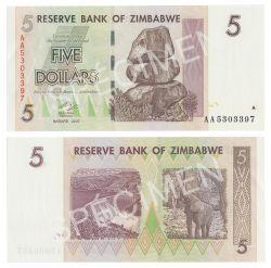 ZIMBABWE -  5 DOLLARS 2007 (UNC)