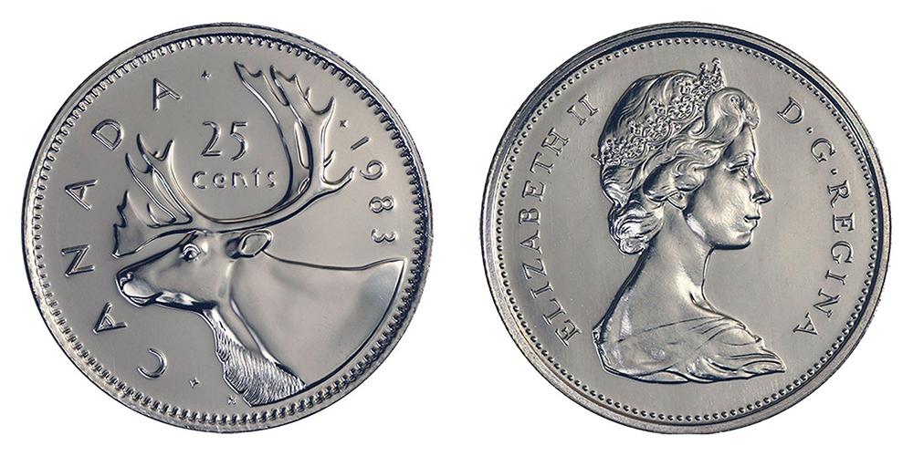 25 CENTS -  25 CENTS 1983 - BRILLANT INCIRCULE (BU) -  PIÈCES DU CANADA 1983