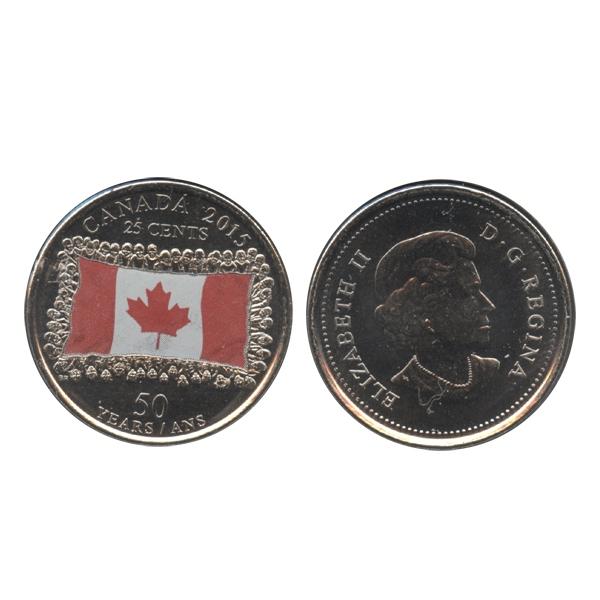 25 CENTS -  25 CENTS 2015 COLORÉ - DRAPEAU CANADIEN - PEU D'OMBRAGES (BU) -  PIÈCES DU CANADA 2015