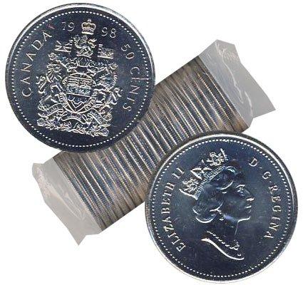 50 CENTS -  ROULEAU ORIGINAL DE 50 CENTS 1998 -  PIÈCES DU CANADA 1998