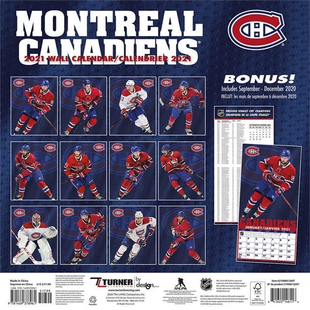 Calendrier 2021 16 Mois Canadiens De Montreal Calendriers