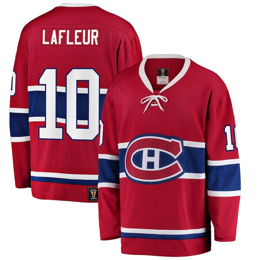 Canadiens De Montreal Guy Lafleur 10 Chandail Replique Vintage Rouge Hockey Repliques Adultes