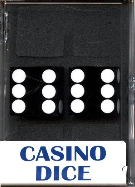 DES DE CASINO -  2D6, 19MM, NOIR AVEC BLANC