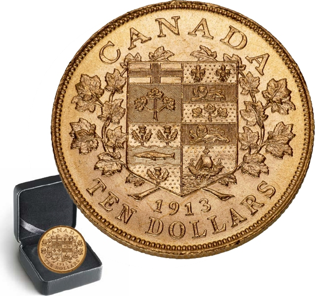 LES PREMIERES PIECES D'OR CANADIENNES -  PIÈCE DE 10 DOLLARS EN OR 1913 SÉLECTIONNÉE INDIVIDUELLEMENT -  PIÈCES DU CANADA 1913