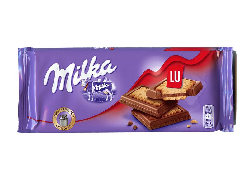 MILKA -  BARRE DE CHOCOLAT ET BISCUITS LU