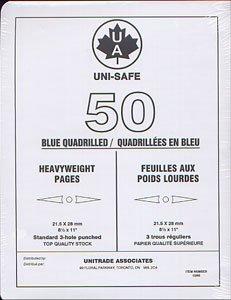 UNI-SAFE -  FEUILLES QUADRILLEES UNISAFE EN BLEU POIDS LOURDS (PAQUET DE 50)