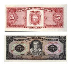 ÉQUATEUR -  5 SUCRES 1979-1980 (UNC)