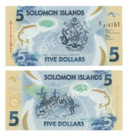ÎLES SALOMON -  5 DOLLARS 2019 (UNC)