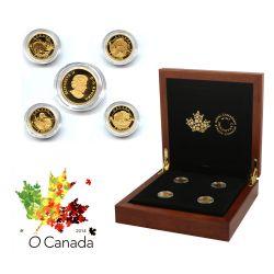 Ô CANADA (2014) -  Collection complète des 4 pièces de 5 dollars en or -  PIÈCES DU CANADA 2014