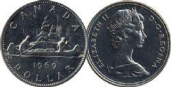 1 DOLLAR -  1 DOLLAR 1969 - BRILLANT INCIRCULÉ (BU) -  PIÈCES DU CANADA 1969