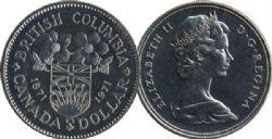 1 DOLLAR -  1 DOLLAR 1971 - CENTENAIRE DE LA COLOMBIE-BRITANNIQUE - BRILLANT INCIRCULE (BU) -  PIÈCES DU CANADA 1971