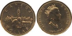 1 DOLLAR -  1 DOLLAR 1992 - CONFÉDÉRATION - BRILLANT INCIRCULE (BU) -  PIÈCES DU CANADA 1992